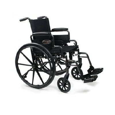 Everest & Jennings Traveler Lightweight Wheelchair with Flip Back Arm and Swing Footrests