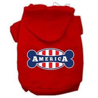 Mirage Pet Products Bonely in America Screen Print Pet Hoodies Red Size Lg (14)