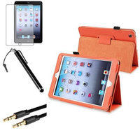 Insten iPad Mini 3/2/1 Case, by INSTEN Orange Leather Case Stand Cover+AG Protector+Cable for iPad Mini 3 2 1