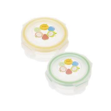 Innobaby Round Food Storage Container, 2 Pack, Stage 1, Yellow/Green