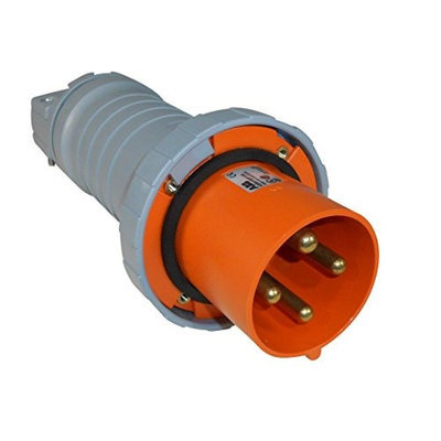 Thomas & Betts ABB Russelstoll ABB4100P12W IEC Plug 100A 3P 4 Wire 125/250V 3 Phase Pin & Sleeve