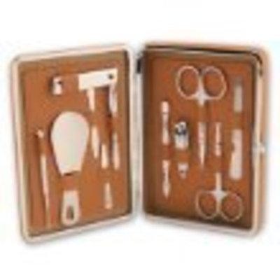 Bey-berk 10 Piece Men's Manicure Set Kit in Tan Leather Case