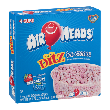 Air Heads Xtremes Ditz Ice Cream Cups Mixed Berry - 4 CT