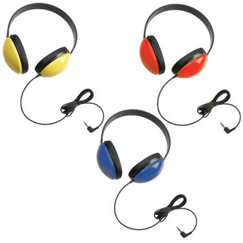 Califone International Califone 2800 Listening First Headphone (3 Packs) Blue, Yellow, & Red