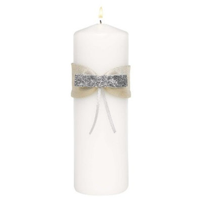 Hortense B. Hewitt Metallic Sparkle Unity Candle - White