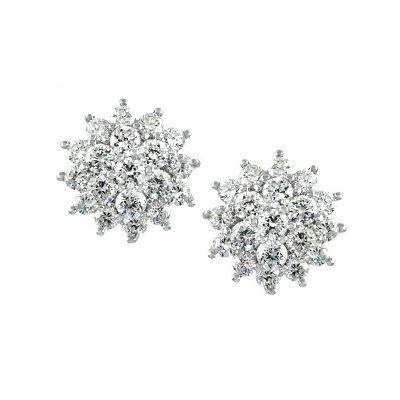 Emitations Begonia's Cluster CZ Stud Earrings