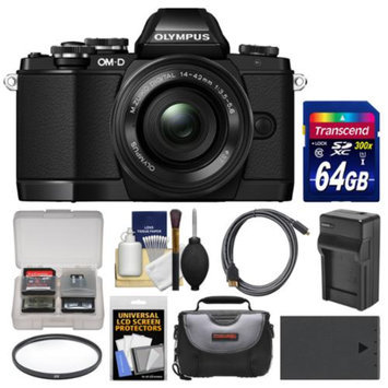 Olympus OM-D E-M10 Micro 4/3 Digital Camera & 14-42mm II R Lens (Black) with 64GB Card + Case + Battery & Charger + Filter + Accessory Kit