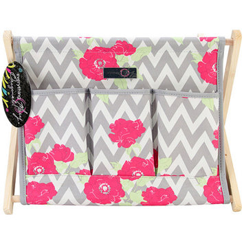 Everything Mary EVM91621 Everything Mary Chevron Roses Fold-Up Caddy 15 inch X10. 5 inch X12-