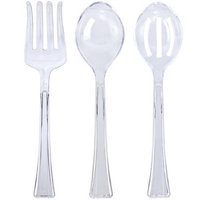 King Zak Ind Lillian Tablesettings 60209 Clear Heavyweight Plastic Serving Utensils 3 Pack Set - 72 Per Case