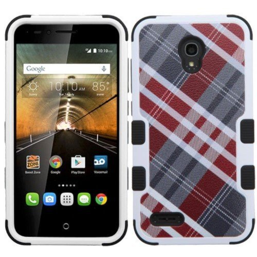 Alcatel One Touch Conquest Case, Insten Tuff Diagonal Plaid Dual Layer [Shock Absorbing] Protection Hybrid Rubberized Hard PC/Silicone Case Cover For Alcatel One Touch Conquest, Gray/Red