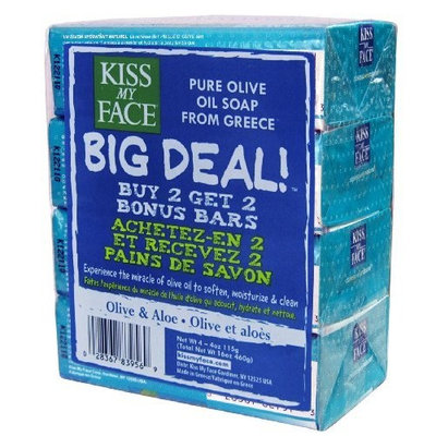 Kiss My Face Big Deal Multipack Bar Soap, Olive and Aloe Oil, 4 Count (Pack of 2)