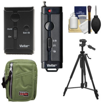 Vivitar Universal Wireless and Wired Shutter Release Remote Control with Travel Case + Tripod + Accessory Kit for Olympus PEN E-P3, E-PL2, E-PL3, E-PL5, E-PM1, E-PM2, OM-D E-5 Digital Cameras