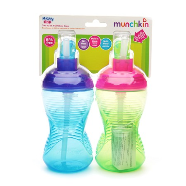 Munchkin Mighty Grip Spill-Proof Flip Straw Cups