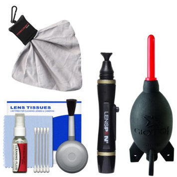 Cleaning Kit Essential Bundle with Blower, Brush, Fluid, Lenspen & Spudz for Canon, Nikon, Fuji, Olympus, Panasonic, Pentax & Sony ILC/DSLR Cameras