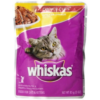 WHISKAS CHOICE CUTS Pouch Chicken Dinner in Gravy Wet Cat Food, 3-Ounce Pouches (Pack of 24)