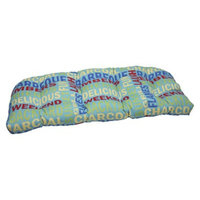 Pillow Perfect Outdoor Wicker Loveseat Cushion - Green/Yellow Grillin