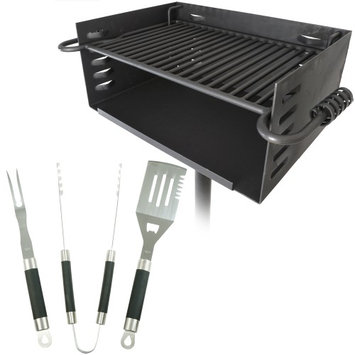 Titan Distributors Titan Single Post JUMBO Park Style Grill + 3pc BBQ tool set Charcoal Outdoor