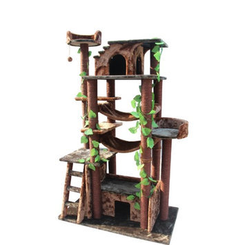Kitty Mansions Amazon Cat Tree Blue/Brown/Beige