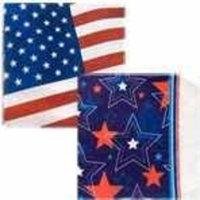 DTSC Patriotic American Flag and Red White Blue Napkin Set - 14 Paper Plates 20 Napkins