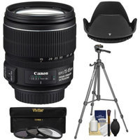 Canon EF-S 15-85mm f/3.5-5.6 IS USM Zoom Lens with Tripod + 3 UV/CPL/ND8 Filters + Hood + Kit for EOS 70D, Rebel T3, T3i, T4i, T5, T5i, SL1 DSLR Cameras