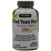 Weider Red Yeast Rice Plus with Phytosterols 1200 mg per 2 Tablets - 180 Tablets