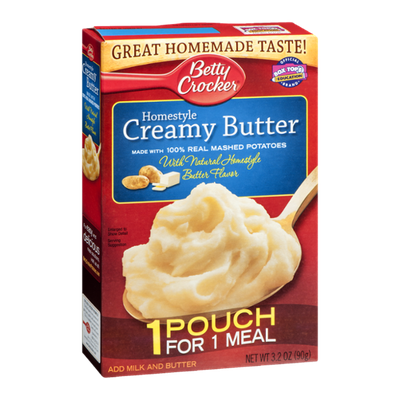 Betty Crocker Real Mashed Potatoes Homestyle Creamy Butter 1 Pouch For 1 Meal