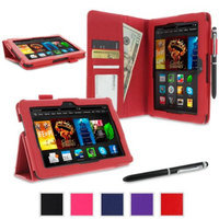roocase Amazon Kindle Fire HDX 7 Case - Dual Station PU Leather 7-Inch 7 Cover with Stylus - Red (With Auto Wake / Sleep Cover)