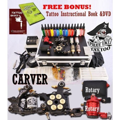 Pirate Face Tattoo CARVER Tattoo Kit 4 Machine Guns Power Supplies / 2 Rotary Machines / 2 Coil Machines / 15 INK / LCD Power Supply / 50 Needles / PLUS Accessories