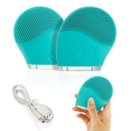 Waterproof Electric Soft Silicone Facial Brush Cleanser face Skin washing machine Cleanser Massager Exfoliator - Green