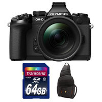 Olympus OM-D E-M1 Micro 4/3 Digital Camera with 12-40mm f/2.8 Lens (Black) with 64GB Card + Sling Bag Kit