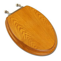 Comfort Seats C1B2E1-15BN Decorative Oak Wood Elongated Toilet Seat with Brushed Nickel Hinges, American Cherry