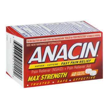 Anacin Pain Reliever Coated Tablets Max Strength - 40 CT