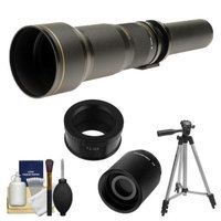 Rokinon 650-1300mm f/8-16 Telephoto Lens (Black) (T Mount) with 2x Teleconverter (=2600mm) + Tripod + Accessory Kit for Samsung NX20, NX200, NX210 & NX1000 Digital Cameras
