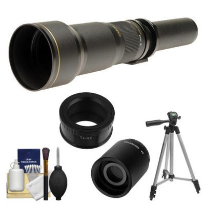 Rokinon 650-1300mm f/8-16 Telephoto Lens (Black) (T Mount) with 2x Teleconverter (=2600mm) + Tripod + Accessory Kit for Samsung NX20, NX200, NX210 & NX1000 Digital Cameras