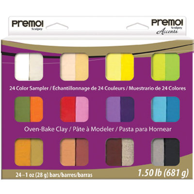 Polyform Premo Clay Sampler Pack 1 Ounce 24/Pkg Assorted Colors