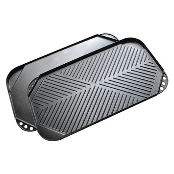Ecolution Grilling Accessories. Kitchen Extras Cast Aluminum 20 in. x 11 in. Double Burner Reversible Griddle