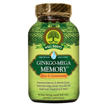Well Roots Ginkgo-Mega Memory, Softgels, 60 ea