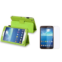 Insten INSTEN Green Folio Leather Case Cover+Clear Protector for Samsung Galaxy Tab 3 8.0 8-inch
