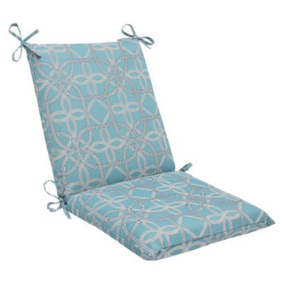 Pillow Perfect Outdoor Square Edge Cushion - Blue/Brown Keene