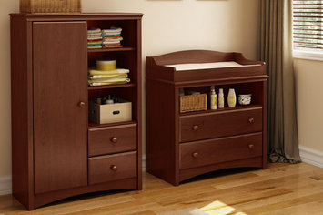Southshore Sweet Morning Changing Table and Armoire with Drawers, Royal Cherry