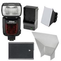 Nikon SB-910 AF Speedlight Flash with EN-EL14 Battery & Charger + Soft Box + Reflector for D3100, D3200, D3300, D5100, D5200, D5300 Digital SLR Camera
