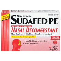 Sudafed PE Maximum Strength Nasal Decongestant, Non-Drowsy (10 mg), 72-Count Tablets (Pack of 2)