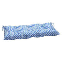 Pillow Perfect Outdoor Tufted Bench/Loveseat/Swing Cushion - Blue/White Geometric