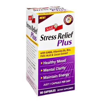 Schiff Stress Relief Plus with GABA, Vitamins B1, B12, Folic Acid & Cacao Extract Dietary Supplement Capsules - 60 CT