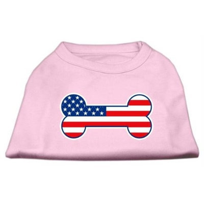 Mirage Pet Products 5108 XXLLPK Bone Shaped American Flag Screen Print Shirts Light Pink XXL 18