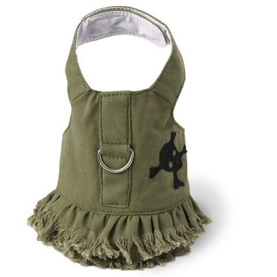 Doggles Dog Harness Jean Dress Fringe with Skull, Green, Extra Small