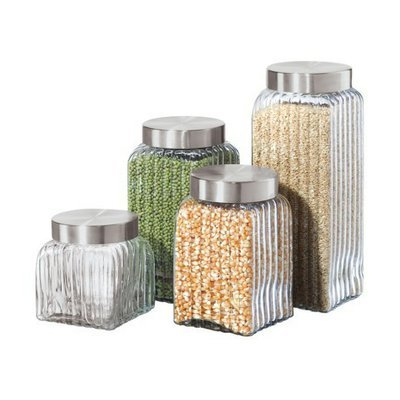 Oggi Ribbed Glass 4-pc. Canister Set - Clear