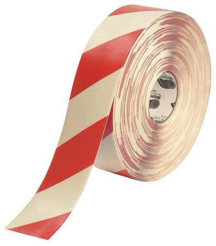 Mighty Line Industrial Floor Tape (Roll, Red/White, Vinyl). Model: 3RWCHVRED