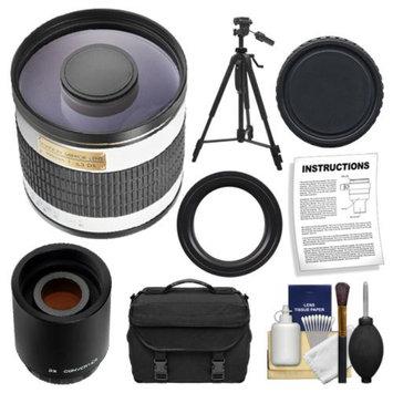 Rokinon 500mm f/6.3 Multi-Coated Mirror Lens with 2x Teleconverter (=1000mm) + Tripod + Case + Accessory Kit for Sony Alpha DSLR SLT-A35, A37, A55, A57, A65, A77 Digital SLR Cameras