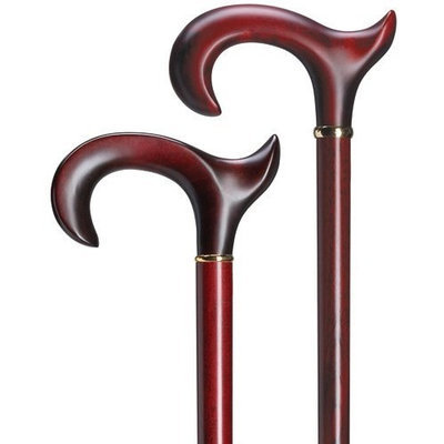 Harvy Men Handsome Derby Burgundy Maple Cane -Affordable Gift! Item #DHAR-9765400
